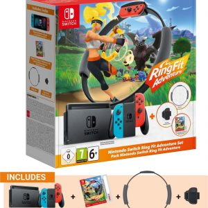 """Nintendo Switch + Ring Fit Adventure Bundle draagbare game console 15,8 cm (6.2"""") 32 GB Wi-Fi Zwart, Rood"""