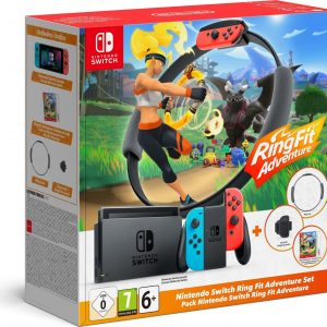 Nintendo Switch Console - Blauw / Rood - Nieuw model - Incl. Ring Fit Adventure