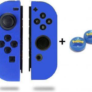 Gadgetpoint! | Nintendo Switch & Lite | Siliconen Joy-Con Controller Hoesjes + Thumbgrips (1 Set = 2 Thumbgrips) | Grip | Blauw + Pokemon Shield Blauw