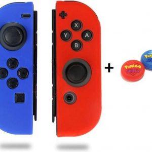 Gadgetpoint! | Nintendo Switch & Lite | Siliconen Joy-Con Controller Hoesjes + Thumbgrips (1 Set = 2 Thumbgrips) | Grip | Blauw/Rood + Pokemon Shield Rood/Blauw