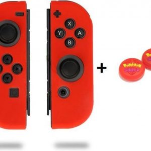 Gadgetpoint! | Nintendo Switch & Lite | Siliconen Joy-Con Controller Hoesjes + Thumbgrips (1 Set = 2 Thumbgrips) | Grip | Rood + Pokemon Shield Rood