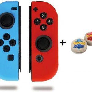 Gadgetpoint! | Nintendo Switch & Lite | Siliconen Joy-Con Controller Hoesjes + Thumbgrips (1 Set = 2 Thumbgrips) | Grip | Rood/Lichtblauw + Pokemon Shield Grijs met Blauw/Rood